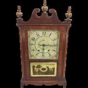 Antique Henry Terry Pillar & Scroll Clock 1830s Runs & Strikes Mahogany Case Solid Wood and Veneer