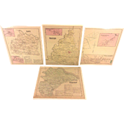 4 Antique Maps of York County PA 1876 by Beach Nichols Publ Pomeroy Whitman & Co Set # 2