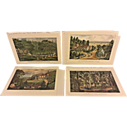 4 Currier & Ives Reproduction Prints   Homes and Landscapes