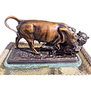 Vintage Bull & Bear Bronze after Isadore Bonheur Mounted on Marble Base