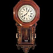 Antique Gustav Becker Walnut Calendar Wall Clock Not Running Striking  Korean 31 Day Movement