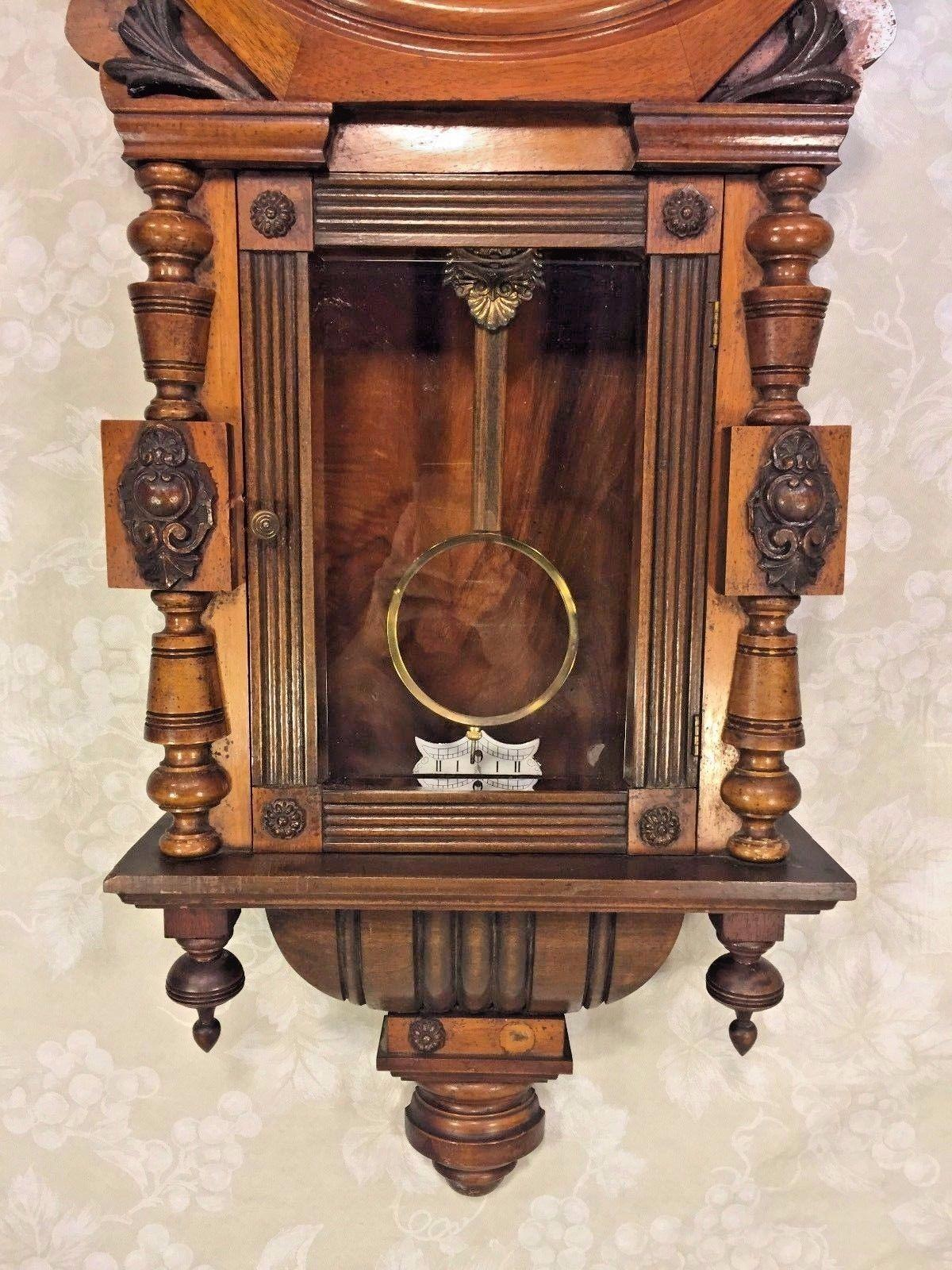 Antique gustav becker walnut calendar wall clock not running roll over large image to magnify click large image to zoom amipublicfo Image collections