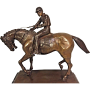 Vintage Bronze Horse and Jockey   in Manner of Isadore Bonheur