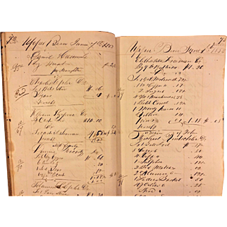 Antique Store Ledger 1853-1854 J Chock's General Store Upper Bern Township, PA