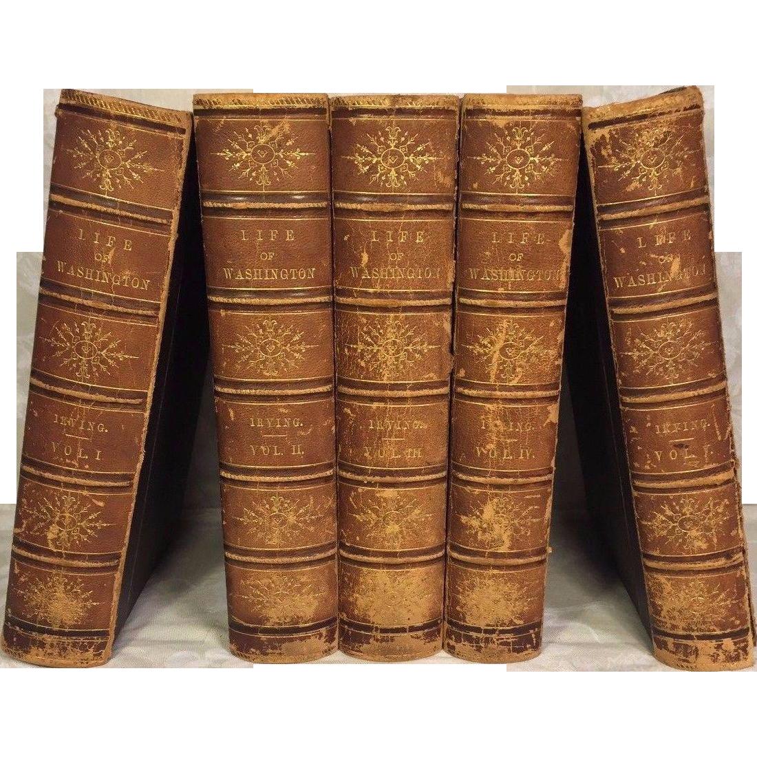 Life of George Washington by Washington Irving 1857 5 Volumes Publ G P Putnam NY 1st Edition