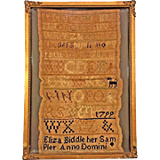 Antique 1799 Sampler in Frame Eliza Biddle In Frame Under Glass  Nice Older Frame Detailed Metal Corner Brackets
