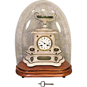 Antique French Onyx Mantel Clock Bell Chime Not Running Brass & Green Colored Trim Clock w/ Urn All Under a Glass Dome w/ Wood Base Old Key