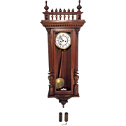 Antique 1885 Gustav Becker Vienna Regulator Wall Clock Time & Strike Engraved Bob and Weight Shells Walnut Case Not Running Serial 373099 Brass Movement