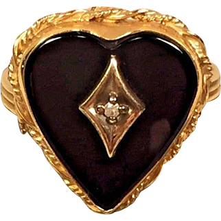 Gold Plate & Black Onyx Ring w/ Small Diamond in Center Heart Shaped Ring