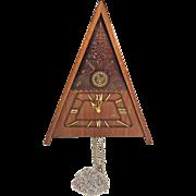 Vintage Maak Cuckoo Clock w/ Triangular Wood Case Not Running No Pendulum or Weights Russia