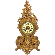 Antique Rococo Style Clock Fancy Porcelain Face Bronze Case Beautiful Detailing w/ Appropriate Pendulum Runs and Strikes