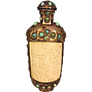 Vintage Asian Snuff Bottle w/ Topper Ornate Bone Copper Detailing with Blue Stone Trim