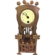 Antique Arts & Crafts Lenzkirch Brass Mantel Clock Porcelain Face Ornate Pendulum Runs Time Only  Very Unique Cannot Find Another Like It on Clock Sites