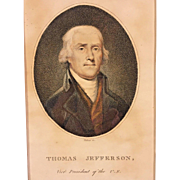 Antique Engraving of Thomas Jefferson as Vice President Colored by Cornelius Tiebout in Frame From Estate of Descendant of General William Sherman