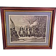 Antique 1850 Engraving of George Washington w/ Generals Die Helden der Revolution (Heroes of the Revolution)  Engraved by Frederick Girsch and Printed by H Peters Published by New Yorker Criminal Zeitung   Professionally Framed & Matted  Antique Fram