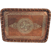Vintage Copper Platter Incised Design with Wall Hanger
