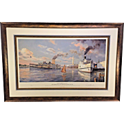 Old Washington DC Steamboats of the Potomac River Limited Edition Print by Paul McGehee Professionally Framed and Matted Conservation Glass