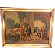 The Reception of Lafayette at Mount Vernon Home of Washington Antique Chromolithograph done by Herman Bencke & Scott of NY C 1875 Old Wood & Plaster Frame From Estate of Descendant of General William Seward