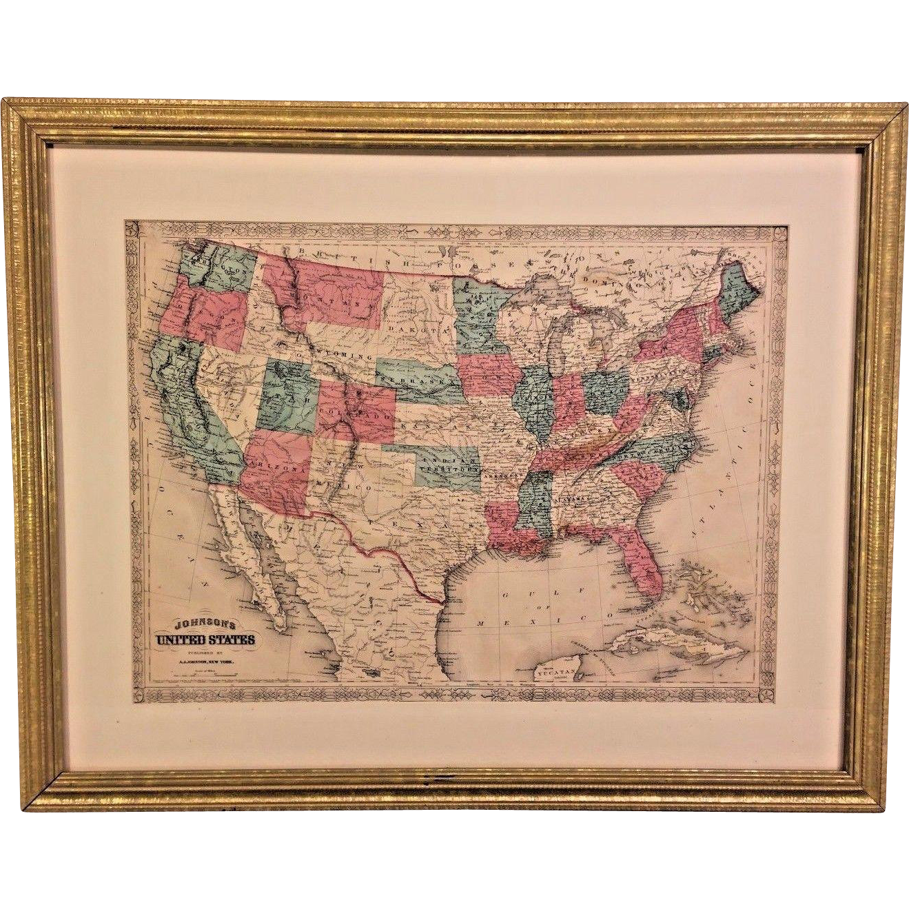 Alvin Jewett Johnson Map Of The United States Framed And - Framed us map