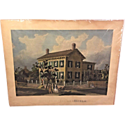 "Antique ""The Home of Abraham Lincoln Engraving 1866  Abraham Lincoln & Wife Shown Greeting Folks John McRae Engraver  From the Estate of Descendant of General William Seward Unframed"