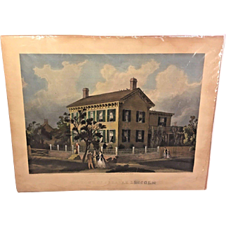 """Antique """"The Home of Abraham Lincoln Engraving 1866  Abraham Lincoln & Wife Shown Greeting Folks John McRae Engraver  From the Estate of Descendant of General William Seward Unframed"""