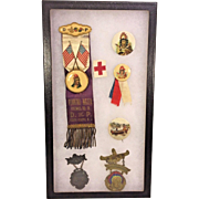 Improved Order of Red Men and Degree of Pocahontas Representative Buttons Early 1900s in Display Case Glass Top