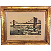 Antique Currier & Ives Print The Great East River Bridge (Brooklyn Bridge) 1872 to Connect the Cities of New York and Brooklyn From Estate of Descendant of General William Seward Framed