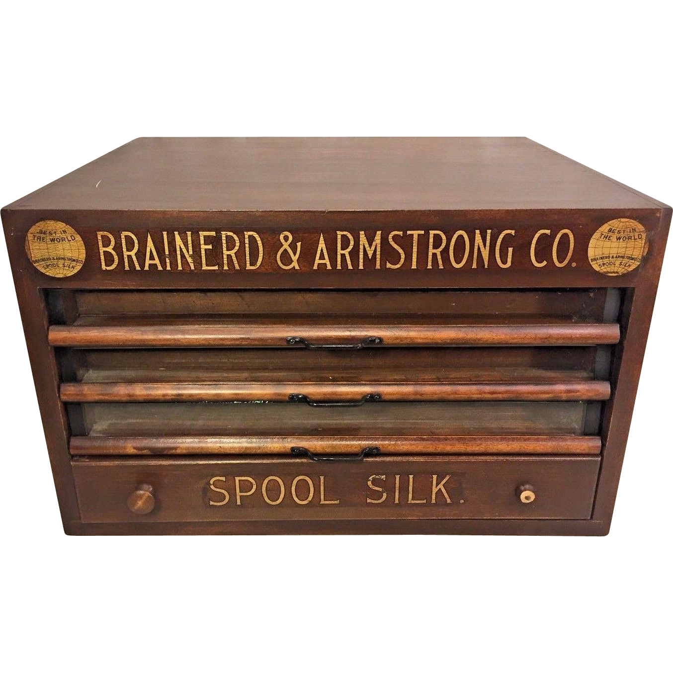 Antique Brainerd & Armstrong Wood Spool Cabinet 4 Drawers Glass Brass &  Wood Great Gold Colored Stenciling - Antique Brainerd & Armstrong Wood Spool Cabinet 4 Drawers Glass
