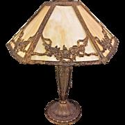 Antique Edwardian Style Slag Glass Lamp Works! Bronzed Brass Base w/ Embossed Detailing  From the Estate of a Descendant of General William Seward Jr