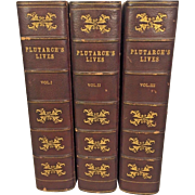 Plutarch's Lives, The Translation Called Dryden's 3 Vols by A H Clough 1881 From Estate of Descendant of General William Seward