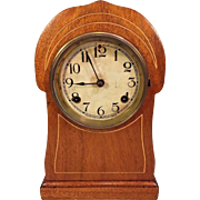 Antique Inlaid Wood Waterbury Mantel Clock w/ Scalloped Top From Estate of Descendant of General William Sherman Not Running