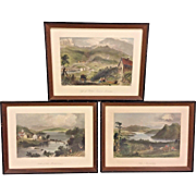 3 Antique Engravings by William Bartlett in Frames Sugar Loaf Georgeville and Lake Memprhemagog in Maine  Set #1 of 2  From Estate of Descendant of General William Seward