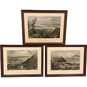 3 Antique Engravings by William Bartlett in Frames Sugar Loaf Georgeville and Lake Memprhemagog in Maine Set # 2 of 2 From Estate of Descendant of General William Seward