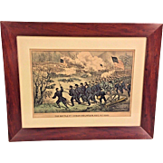 "Antique Currier & Ives Civil War Print ""The Battle of Cedar Mountain"" 1862   Matted & Framed Small Folio  From the Estate of Descendant of General William Seward   Antique Wood Frame"