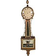 Antique American Banjo Clock 1800s Cherry Case  Possible Aaron Willard Broken Tablet on Pendulum Door Running from the Estate of the Descendant of General William Seward Jr.