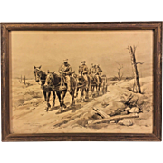 Antique World War I Lithograph  by Jean Jacques Berne-Bellacour in Frame  6 Horse Team Pulling Caisson Thru War Torn Area #1 of 2