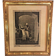 Antique 1825 Engraving of  Arthur Wellesley, The Duke of Wellington   in Old Frame Engraved by W Bromley and Published by R Bowyer   from the Estate of a Descendant of General William Seward