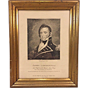 Antique Engraving James Lawrence after Painting by Gilbert Stuart War of 1812 William Leney Engraver From Estate of Descendant of General William Seward