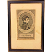 Antique Napoleon Bonaparte Engraving by Ludwig Portman in Wood Frame From Estate of Descendant of General William Seward