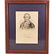 Antique Nathaniel Greene Engraving by R Whitechurch in Wood Frame From Estate of Descendant of General William Seward
