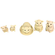 Vintage Porcelain China Pigs Butter Dish Salt & Pepper Shakers and Creamer and Sugar Bowl Set Painted Eyes