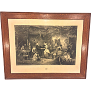 Antique Large Wedding Eve Engraving in Oak Wood Frame 1865 La Veille Des Noces Printed by Eugene Varin Published by Goupil or Knoedler & Co