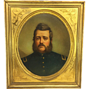 Antique George F. Bensell 1863 Oil Painting of Civil War Union Officer Relined Canvas