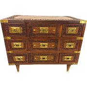 Antique Asian Wood Case with Brass Inlay Trim and 9 Drawers Brass Handles Beautiful Carved or Pressed Detailing