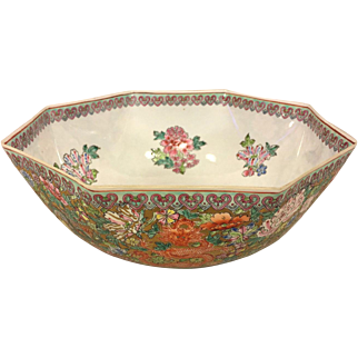 Antique Famille Verte Style Chinese Bowl in Fitted Box Wafer Thin!