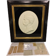 Antique Plaster Base Relief Profile Portrait Sculpture of George McClintic Confederate Sargeant 11th Virginia Infantry Civil War then of Midland Texas w/ Additional Paper Ephemera