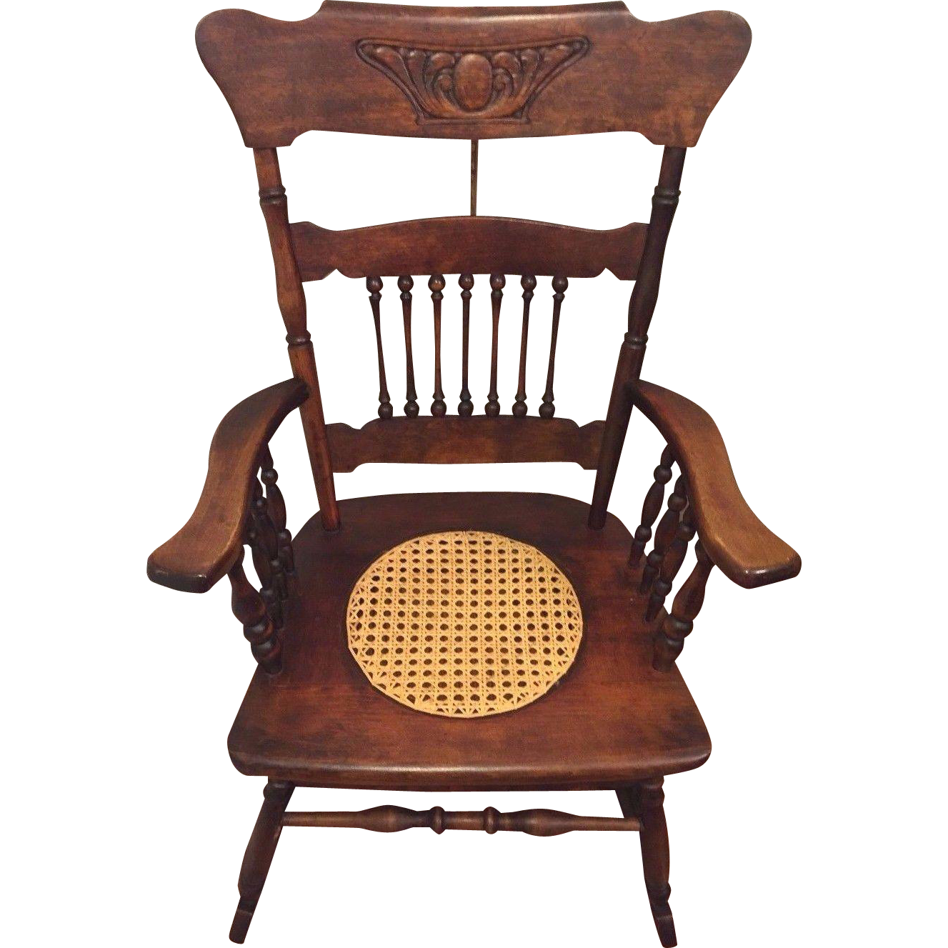 antique rocking chair w cane seat hartwig kemper baltimore md mfgr from timelesstokensde on. Black Bedroom Furniture Sets. Home Design Ideas