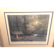 Vintage John Stobart Limited Edition Print 1998   New Bedford Snowfall on Central Wharf 1875  Pencil Signed Matted & Framed 86/450