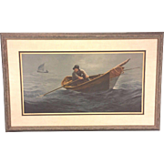 "Vtg Wellington Wood JR Limited Edition Pencil Signed Nautical Print of ""The Doryman"" 1973 (486 of 1,500)"