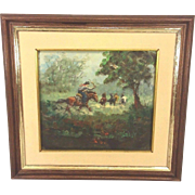 Vintage Rodolfo Tarallo Oil Painting in Frame Cowbow Rounding Up Horses on Pampas